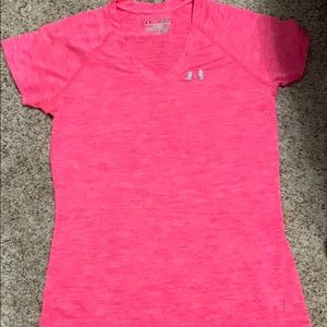 Pink under armour short sleeve work out shirt
